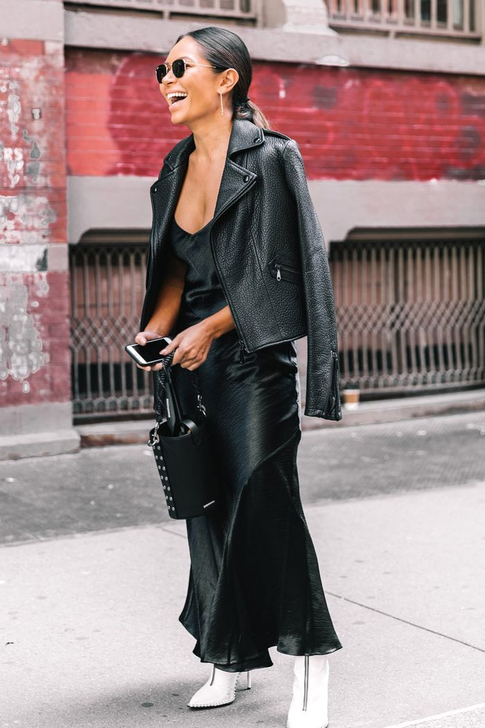 The best wardrobe basics according to stylists: Andria Bush wearing leather jacket