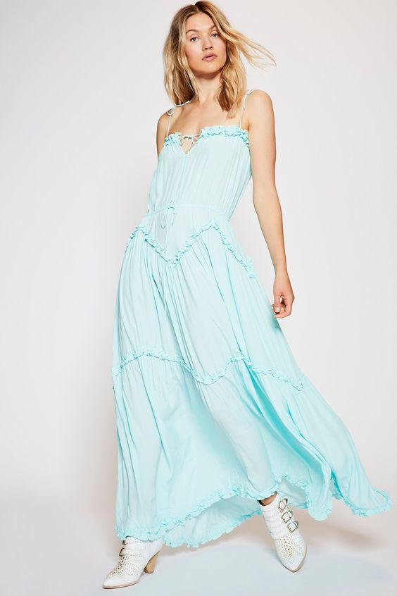 Best Light Blue Maxi Drawstring Dresses