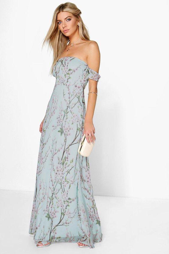 Floral off-the-shoulder maxi bridesmaids  dresses