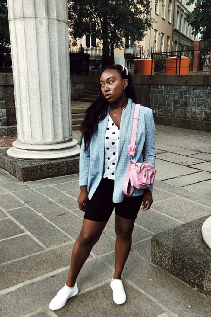 bike short outfits for summer - light blue blazer with sneakers