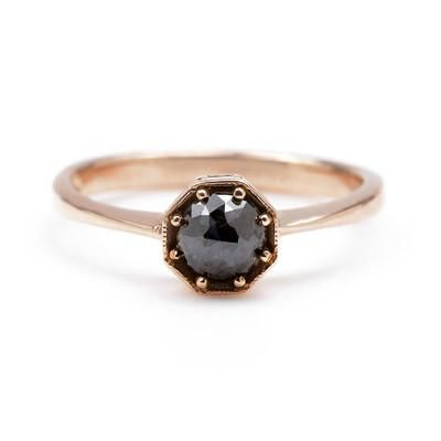 Rose Gold and Black Engagement Rings