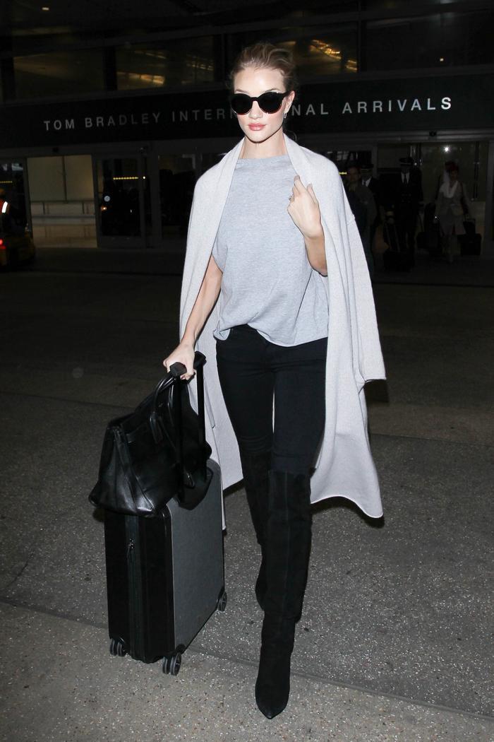 Airport capsule wardrobe sleek luggage
