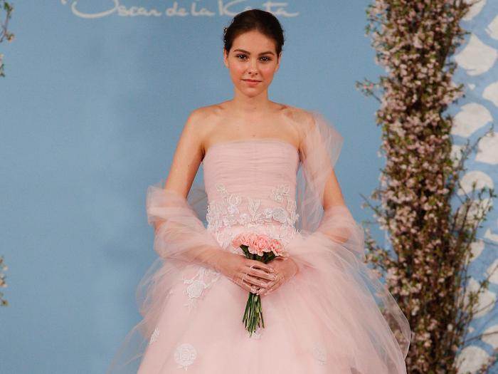 pink wedding dresses runway