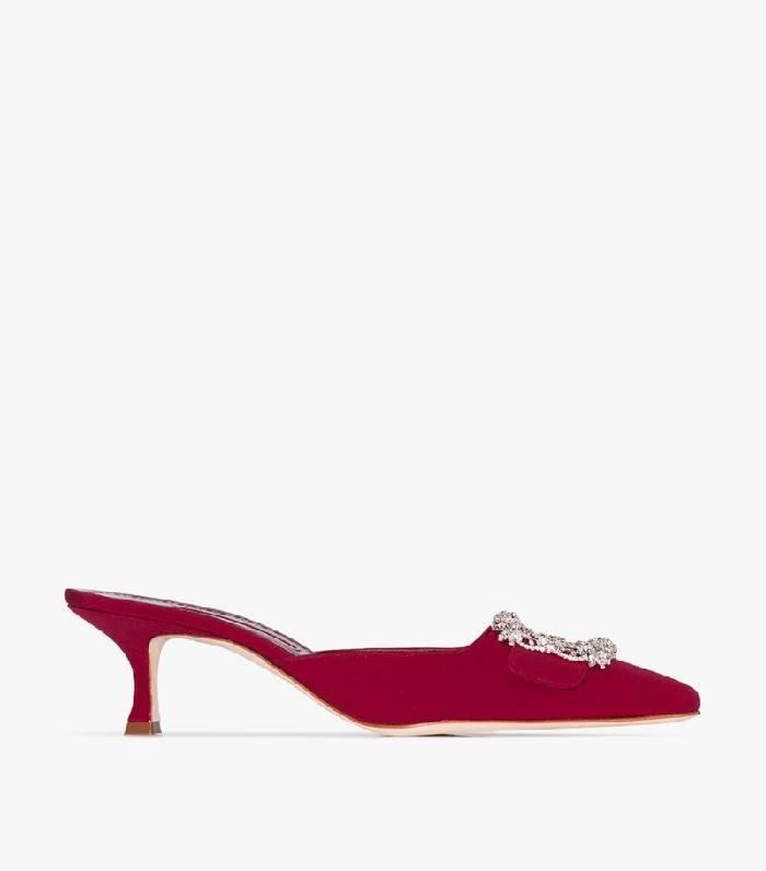 Manolo Blahnik Red Maysale Embellished Silk Mules