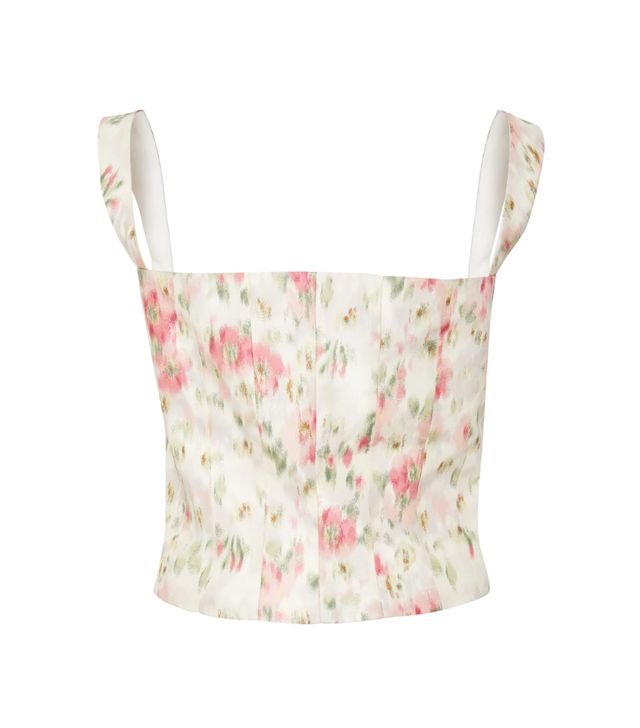 Tayten Floral-Print Silk-Voile Corset Top