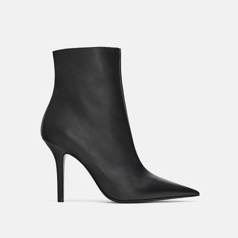 Leather Stiletto Heeled Ankle Boots
