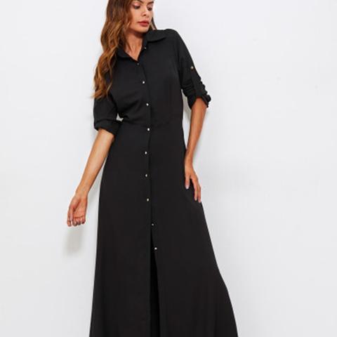 Roll Tab Sleeve Full Length Shirt Dress