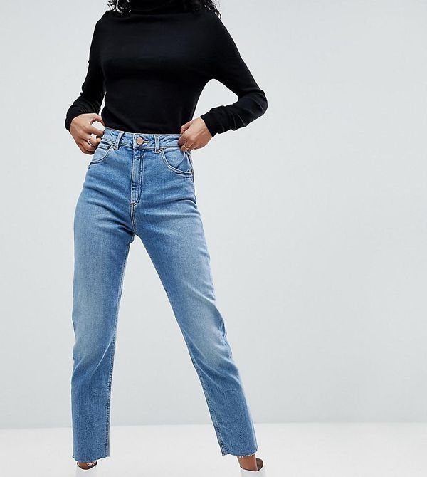 DESIGN Farleigh high waist slim mom jeans in pretty bright mid wash