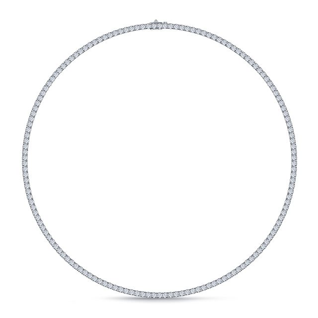 B2C Jewels Classic Diamond Eternity Tennis Necklace in 14K White Gold