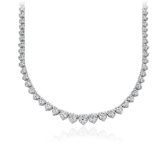 Blue Nile Eternity Diamond Necklace in 18k White Gold