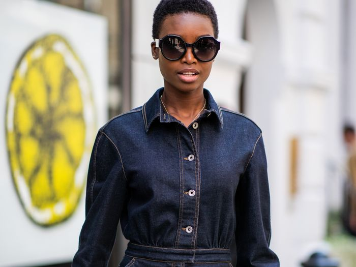 fitted denim dresses street style