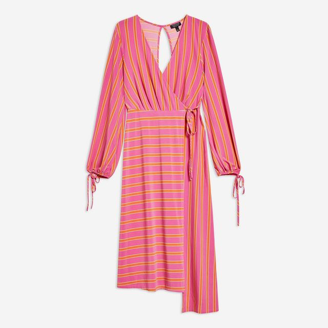 Topshop Stripe Wrap Midi Dress