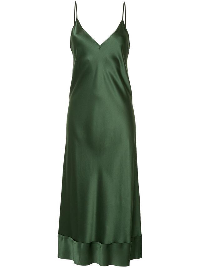 Rose satin V-neck slip dress