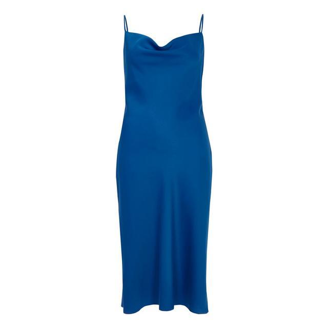River Island Blue Satin Cowl Neck Slip Dress