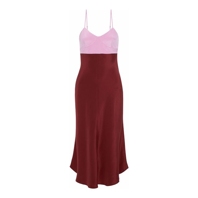 Tibi Two-Tone Silk-Satin Slip Dress