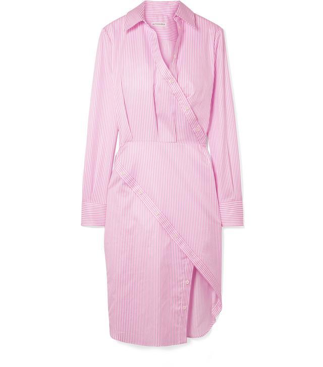 Monday Pinstriped Cotton-twill Shirt Dress