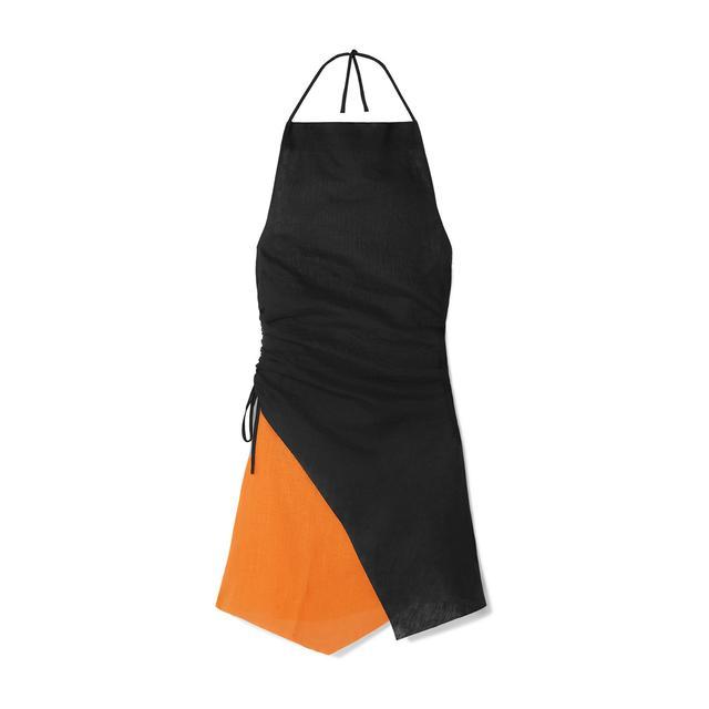 Ruched Two-tone Linen Halterneck Mini Dress