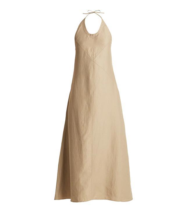 Backless seam-detail halterneck dress