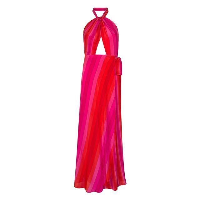 Rixo Stripe Halterneck Wrap Dress