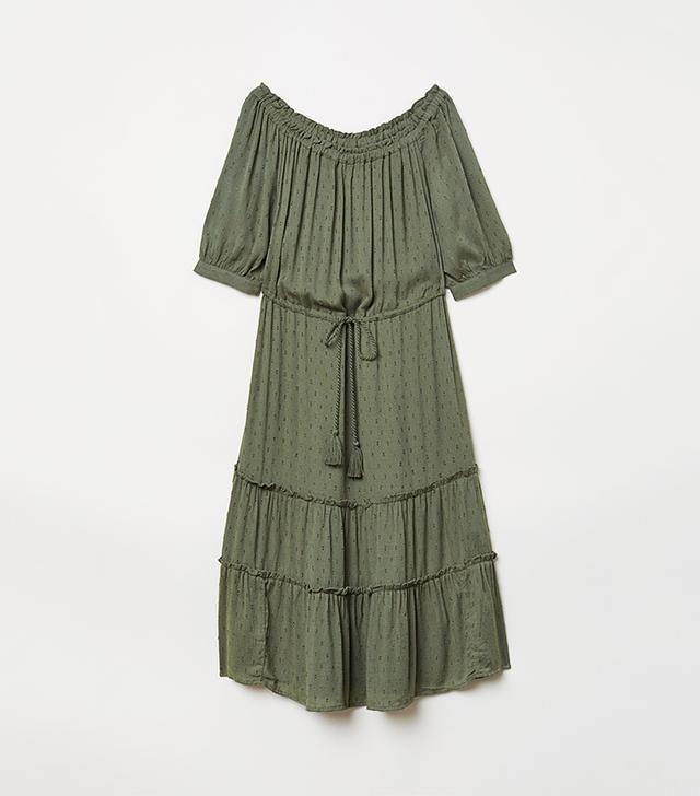 H&M Khaki Off-the-Shoulder Dress