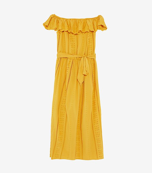 Zara Mustard Off-the-Shoulder Dress