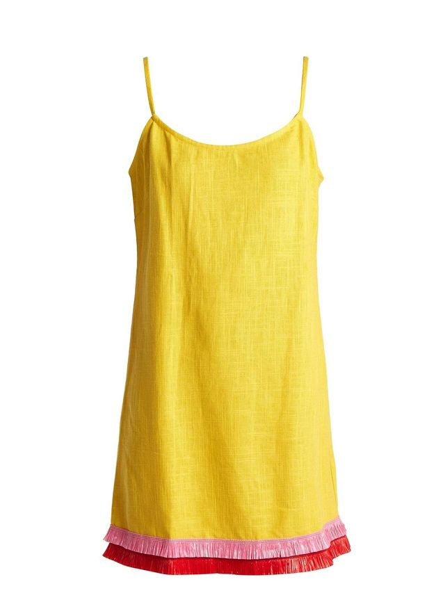 Sonny linen-blend raffia tassel-trim dress