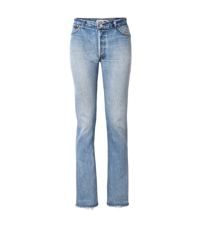 Re/Done + Levi's Distressed High-Rise Straight-Leg Jeans