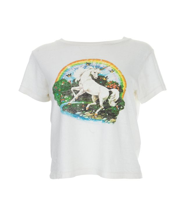 Re/Done Unicorn Dream Graphic Tee in Vintage White