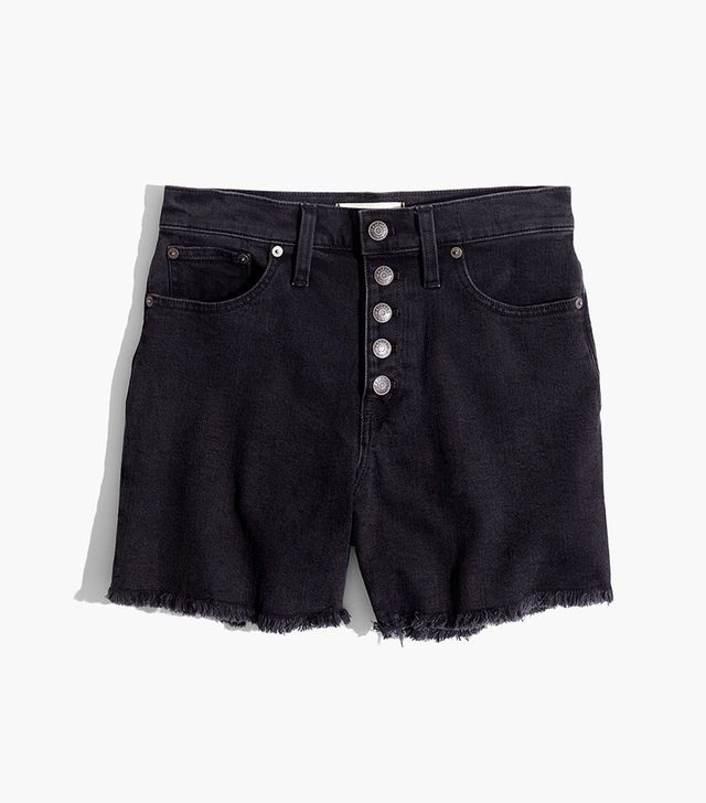 Madewell High-Rise Denim Boyshorts in Faded Black: Button-Through Edition