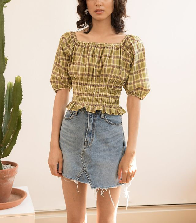 Pixie Market Plaid Smocked Top