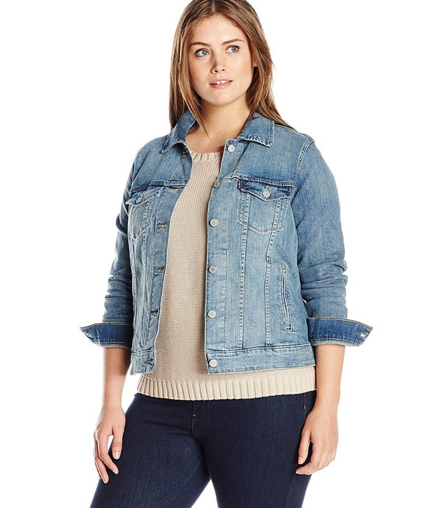 Women's Plus-Size Trucker Jacket, Clean White, 3X