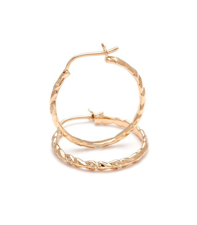 Anna Sheffield Mini Sheaves Pavé Hoop Earrings in Yellow Gold & White Diamonds