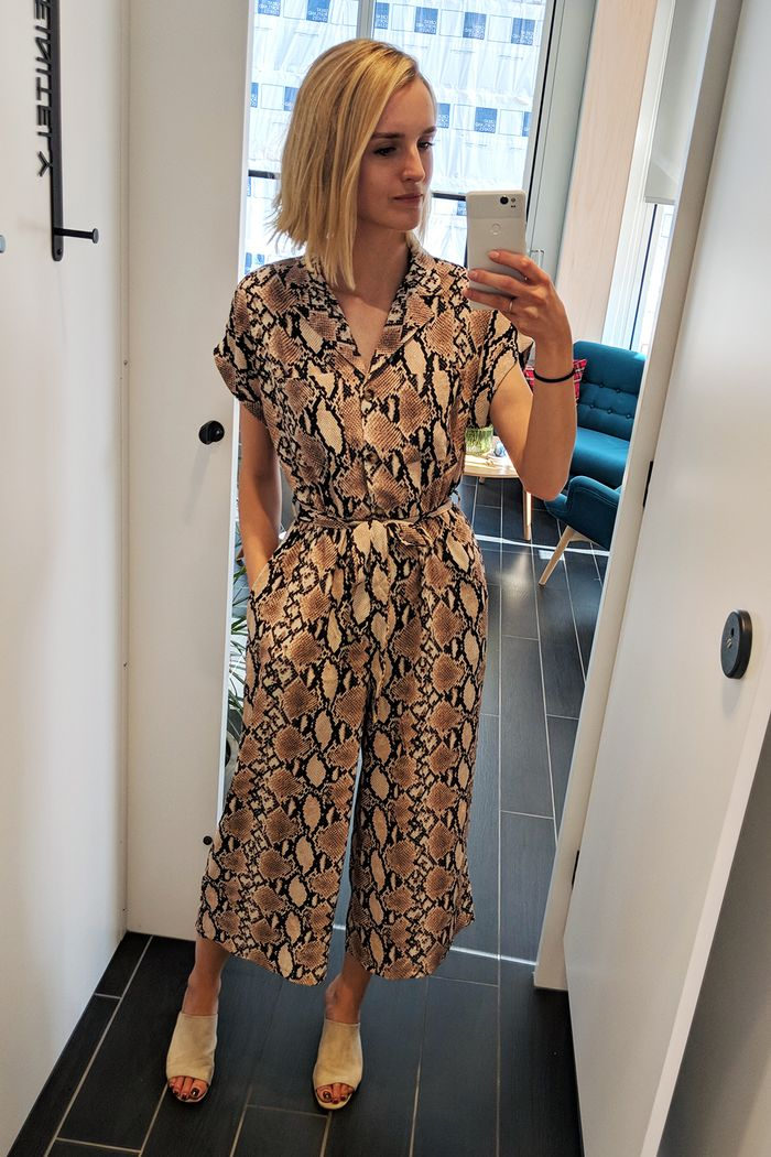 Best items in Oasis New Look French Connection: Joy Montgomery wearing New Look snakeskin jumpsuit