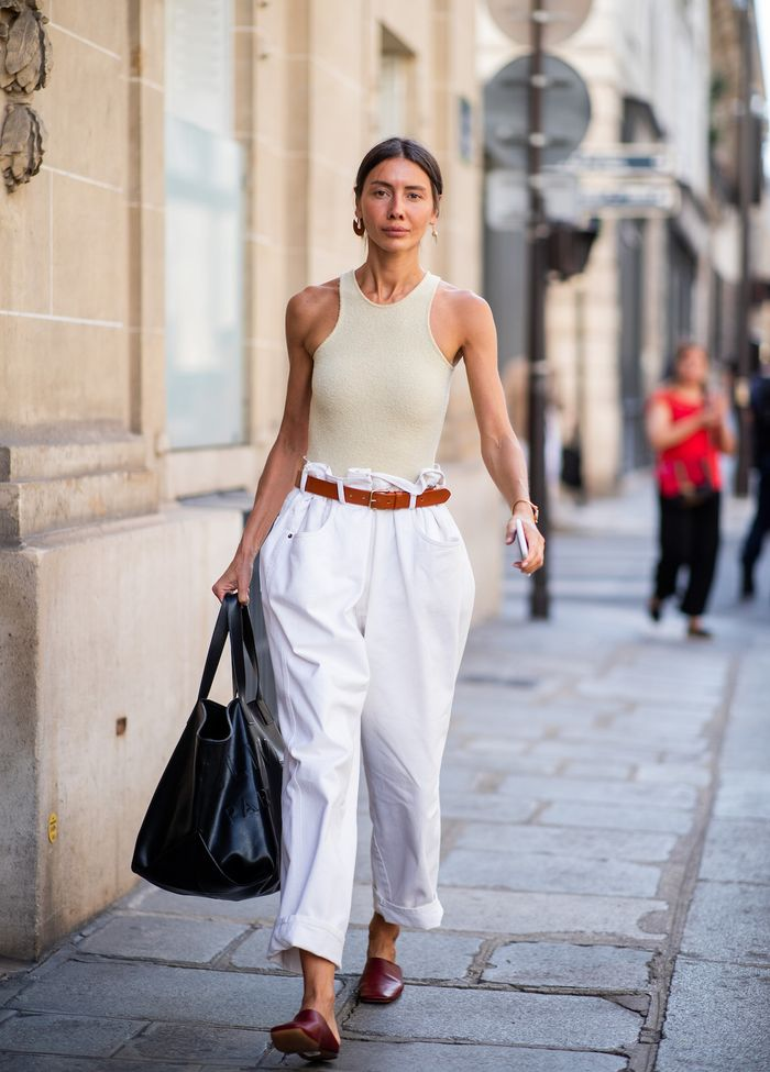 Julie Pelipas Oversized Paper Bag Pants and Bodysuit Street Style