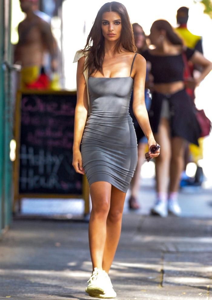 Emily Ratajkowski dress and sneakers