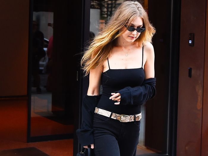 Gigi Hadid wearing all-black outfit