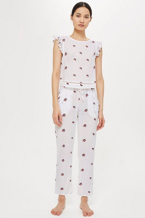 cute fall embroidered pajama sets