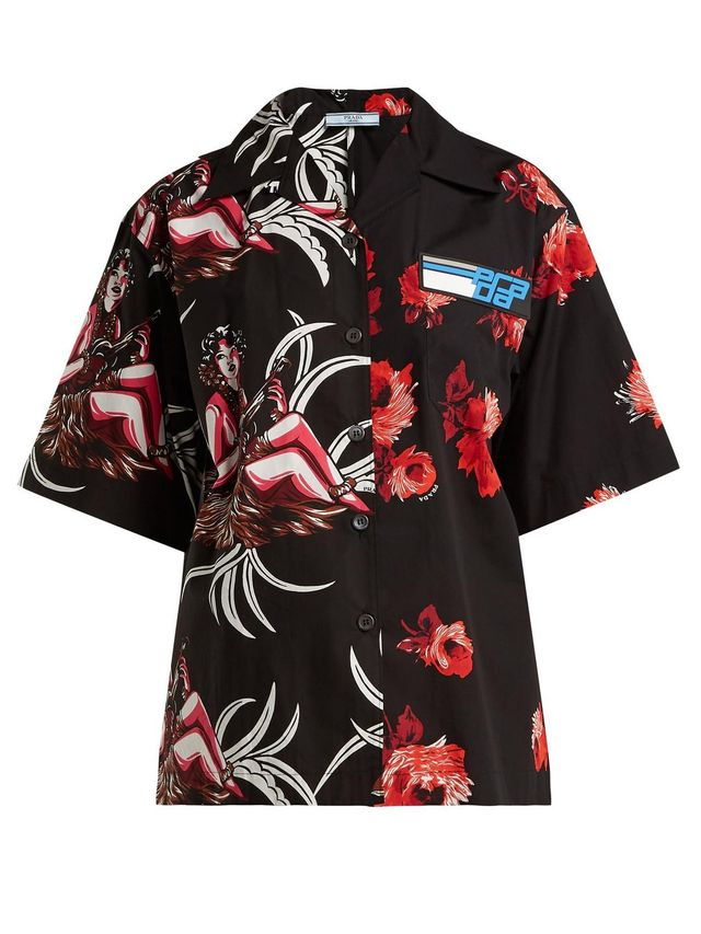 Rose and Hawaiian-print cotton shirt