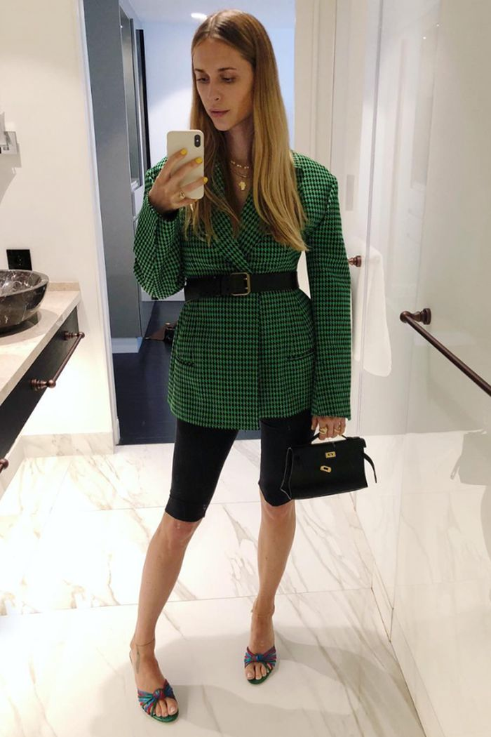Cycling-shorts trend: Pernille Teisbaek wearing cycling shorts and green blazer