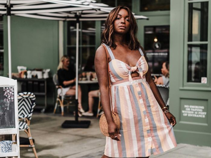 Brunch outfits for fall: striped sundress