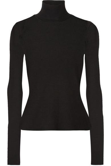 Ribbed Wool Turtleneck Sweater