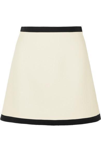 Two-tone Wool-crepe Mini Skirt