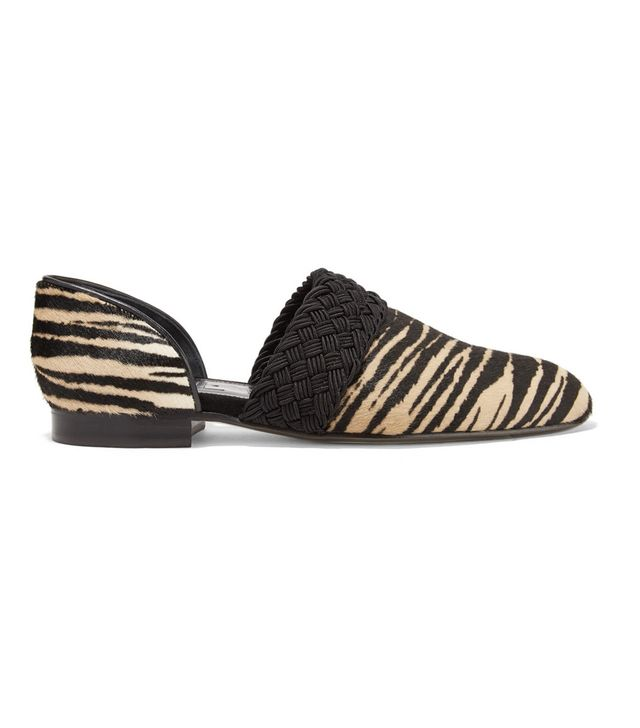 Loewe Flex d'Orsay Braided Tiger-Print Pony Hair Loafers
