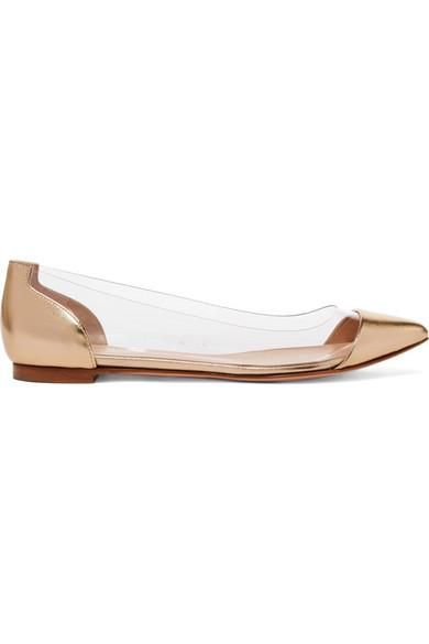Metallic Leather And Pvc Point-toe Flats