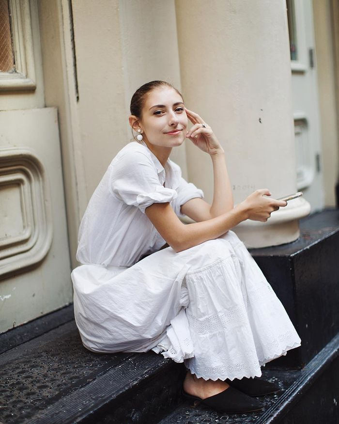 NYC fall shoe trends - White dress street style picture.