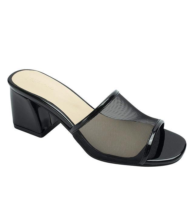 AnnaKastle Mesh Strap Heel Mule Sandals in Black