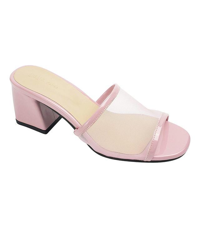 AnnaKastle Mesh Strap Heel Mule Sandals in Pink