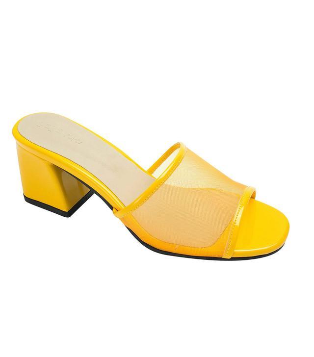 AnnaKastle Mesh Strap Heel Mule Sandals in Yellow