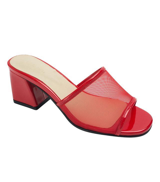 AnnaKastle Mesh Strap Heel Mule Sandals in Red