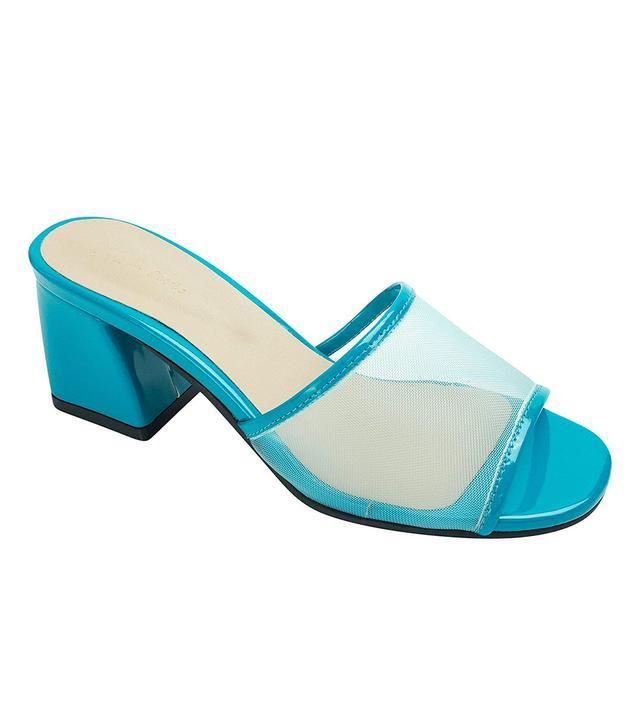 AnnaKastle Mesh Strap Heel Mule Sandals in Blue